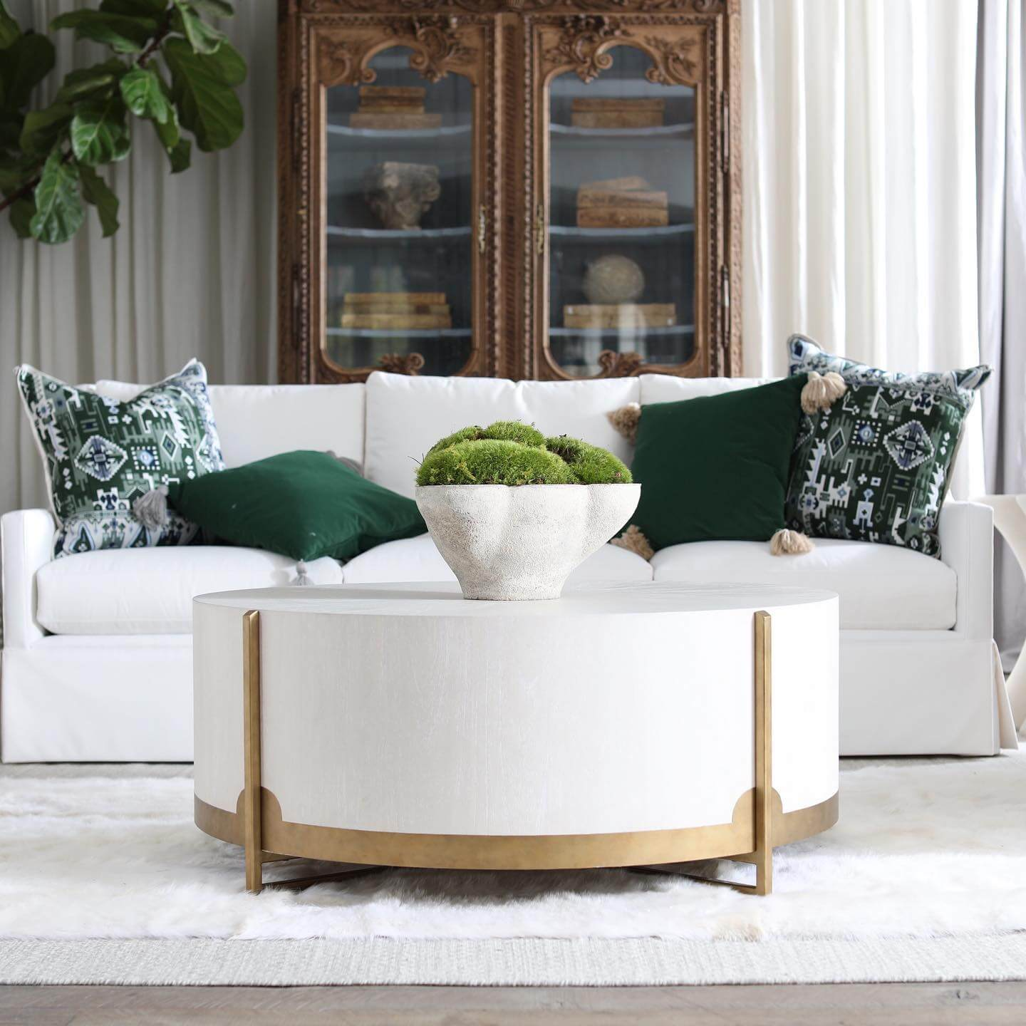 white and gold coffee table