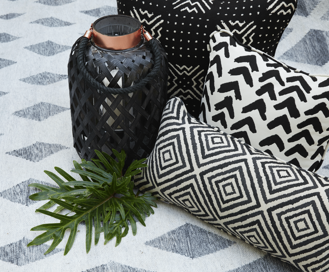 black and white outdoor pillows