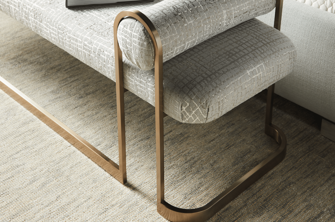 gold detail padded bench
