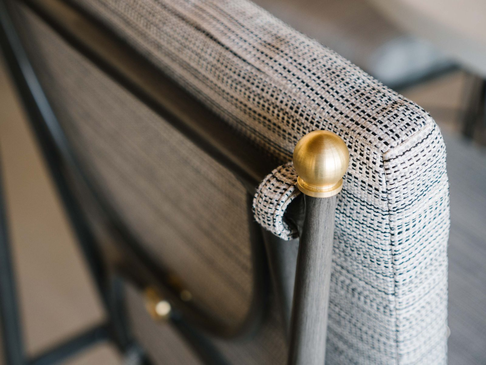 grey chair gold detail