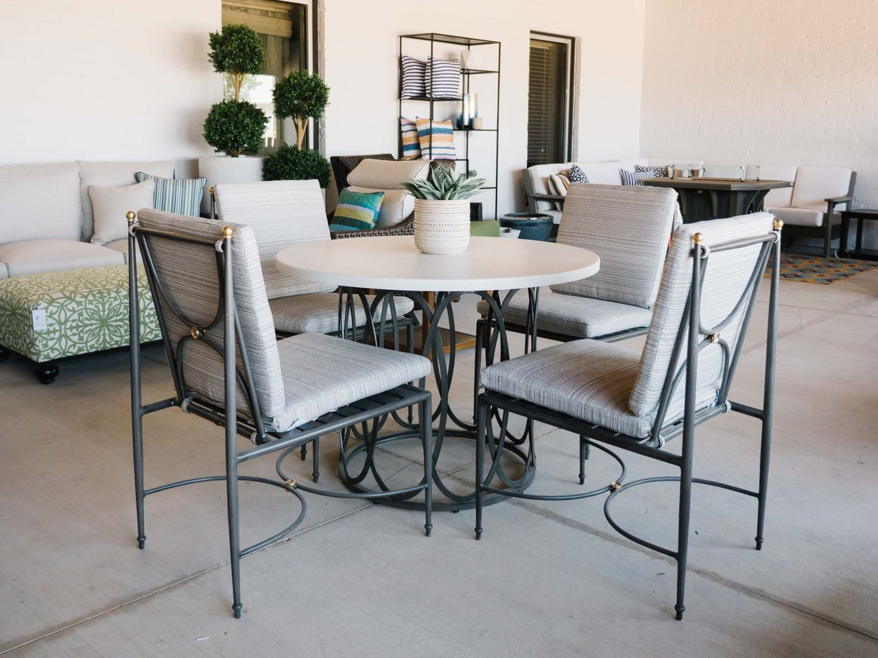 beige outdoor dining set