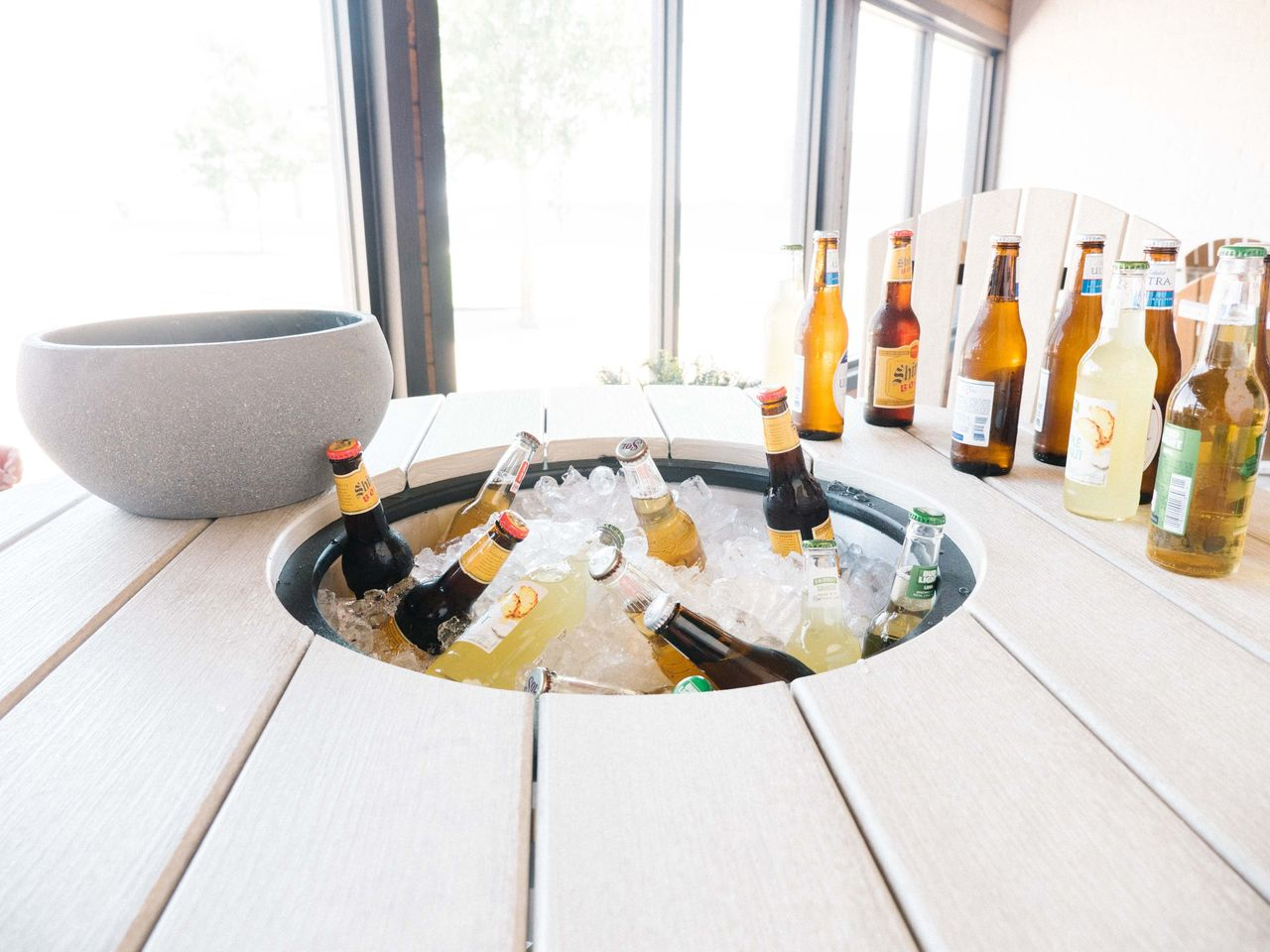 table top cooler with bottles